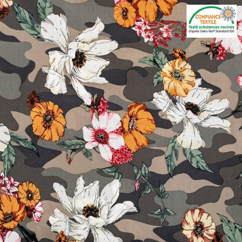 Popeline de coton camouflage motif fleuri Oeko-tex