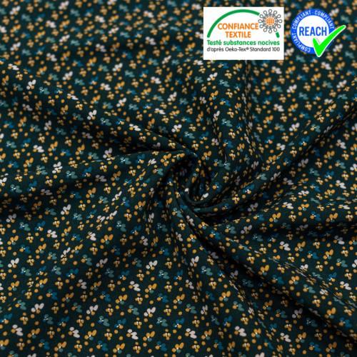 Viscose bleu nuit imprimée petite fleur camel fiduo Oeko-tex