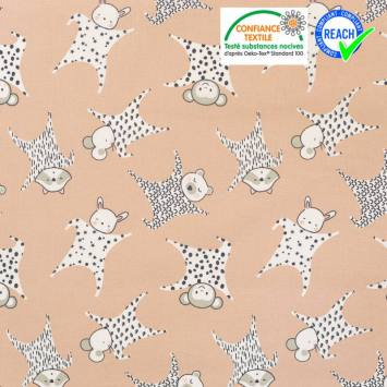 Coton beige rosé motif animaux floppy Oeko-tex