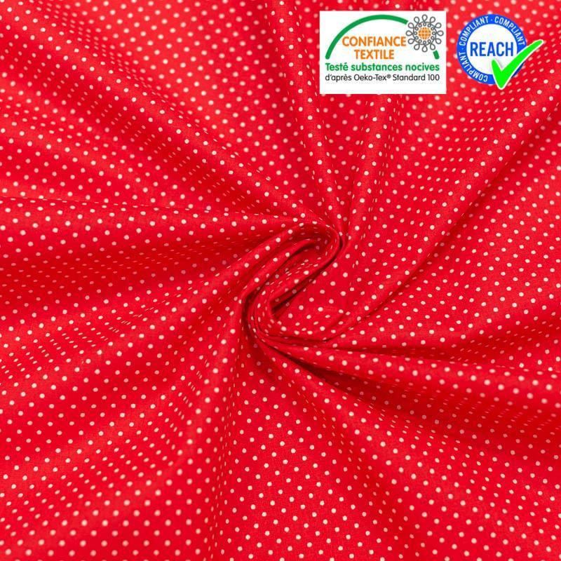 Coton rouge motif pois blanc Oeko-tex
