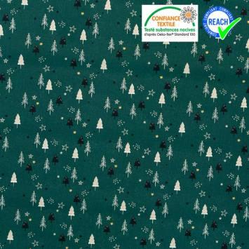 Coton vert pin motif sapin et étoile brillants laplus Oeko-tex