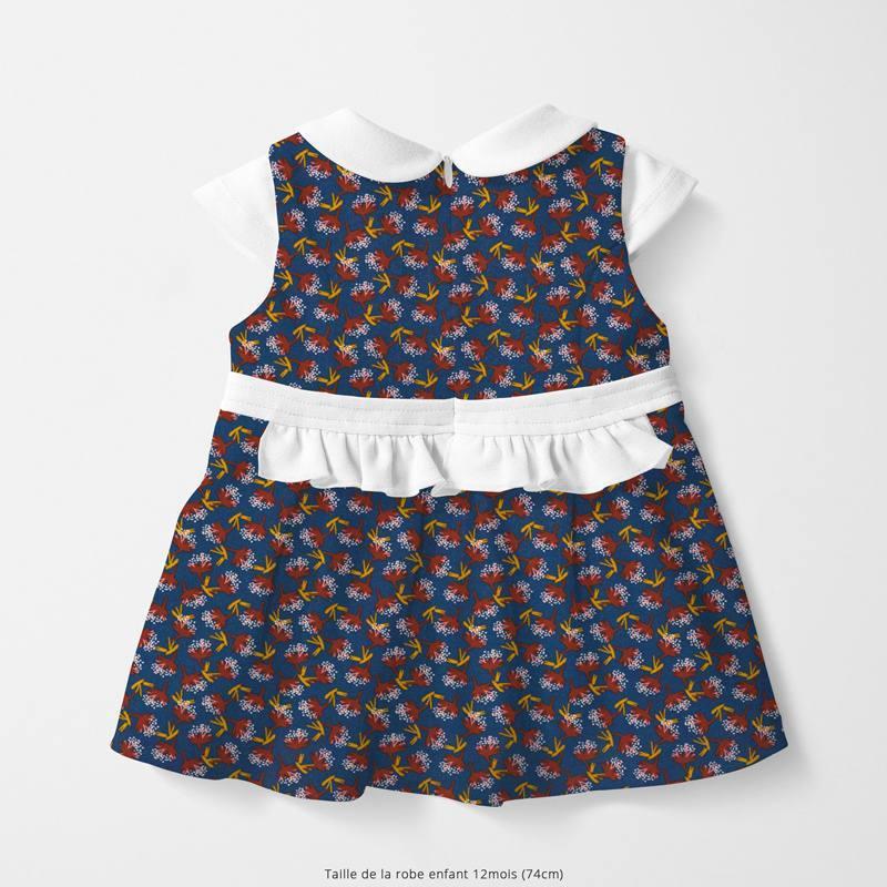 Coton bleu marine motif feuille rouille ombilo Oeko-tex