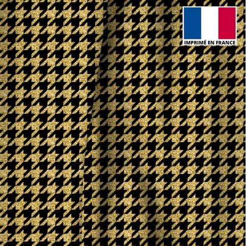 Velours d'habillement noir motif pied de poule gold
