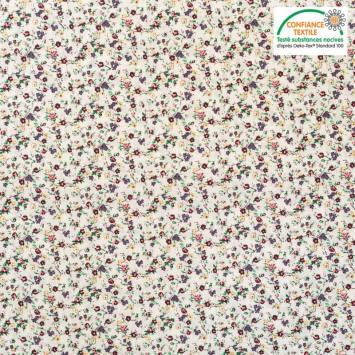 Popeline de coton écrue motif petites fleurs bleues et roses Oeko-tex
