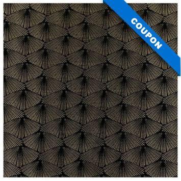 Coupon 50x68 cm - Jacquard noir platine éventail bronze