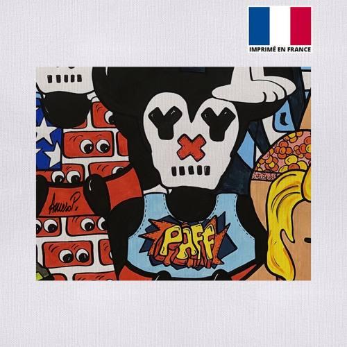 Coupon 27x21 cm - Toile canvas paff street pop - Création Anne-Sophie Dozoul