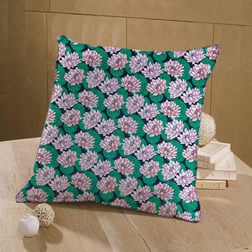 coupon - Coupon 90cm - Coton bleu marine motif nénuphar vert et rose
