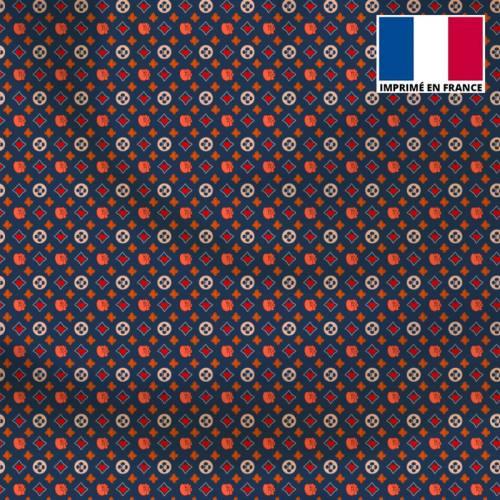 Satin bleu motif petit monogramme coeur Le Loulou de Solliès-Pont - Anne-Sophie Dozoul