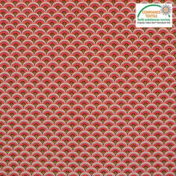 Popeline de coton rouge motif éventail wazabi Oeko-tex