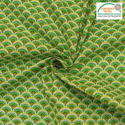 Popeline de coton vert motif éventail wazabi Oeko-tex