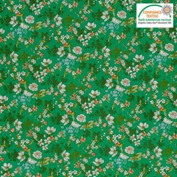 Popeline de coton vert motif fleur amaryllis Oeko-tex