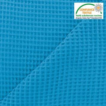 Tissu nid d'abeille uni bleu azur