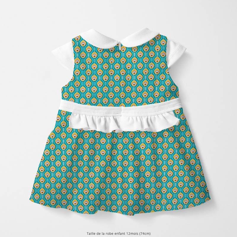 Popeline de coton vert motif peacock Oeko-tex