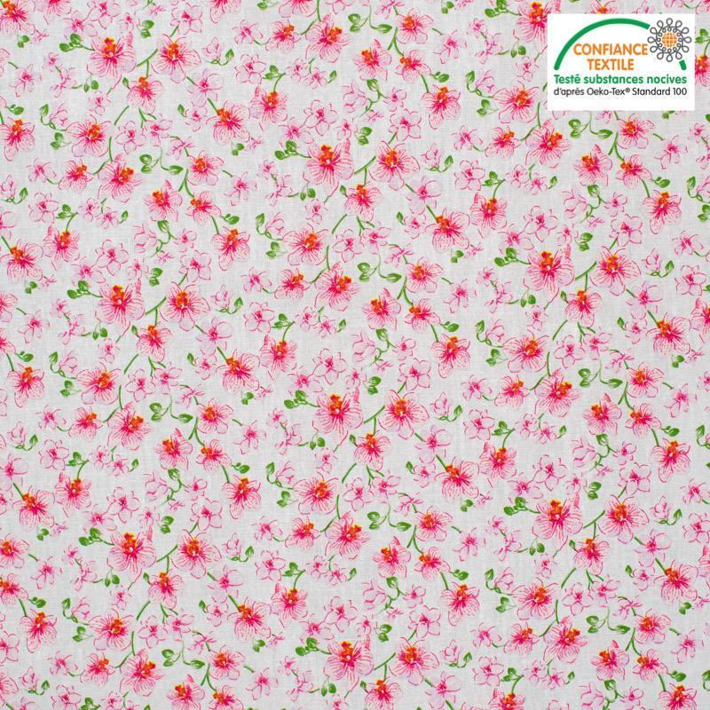 Popeline de coton écru motif bouquet rose Oeko-tex