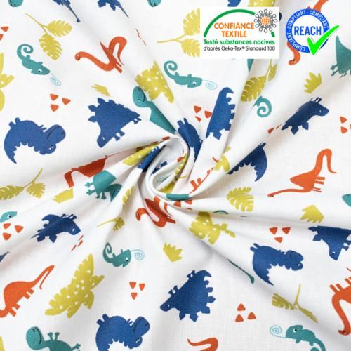 coupon - Coupon 30x113cm - Coton blanc motif dinosaure bleu et vert terry