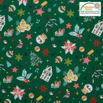 Popeline de coton vert pin motif cadeau de Noel Oeko-tex