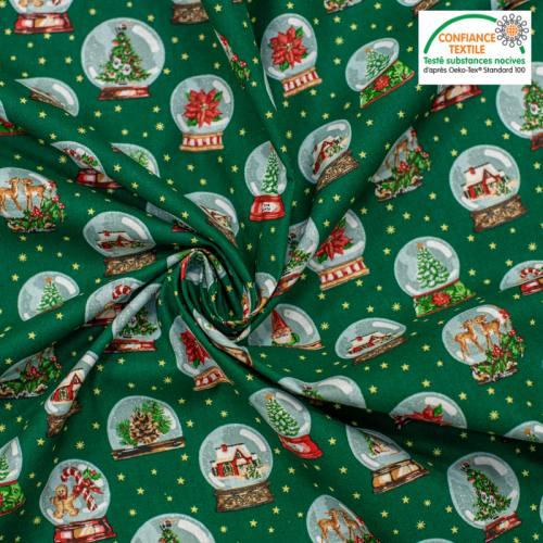 Popeline de coton vert pin motif boule à neige Noel Oeko-tex