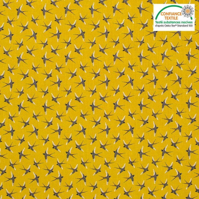 Popeline de coton moutarde motif bird Oeko-tex