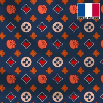 Satin bleu motif monogramme coeur Le Loulou de Solliès-Pont - Anne-Sophie Dozoul
