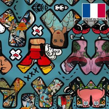 Satin bleu motif petit Y Parade - Anne-Sophie Dozoul