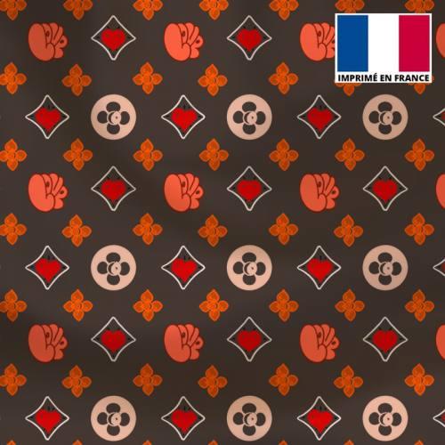 Satin gris motif monogramme coeur Le Loulou de Solliès-Pont - Création Anne-Sophie Dozoul