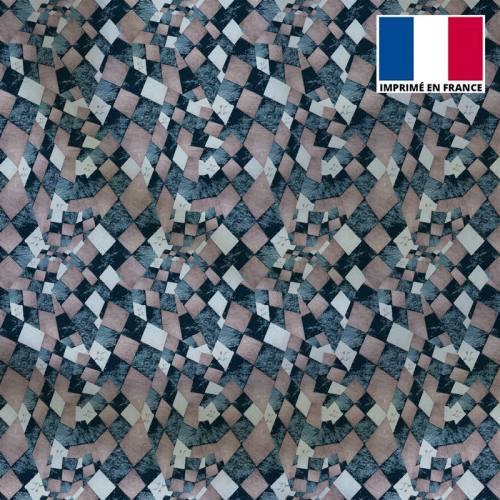 Satin gris rosé motif arlequin vintage - Création Marie-Eva