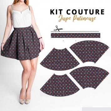 Kit jupe velours d'habillement motif fleur de cerisier noire