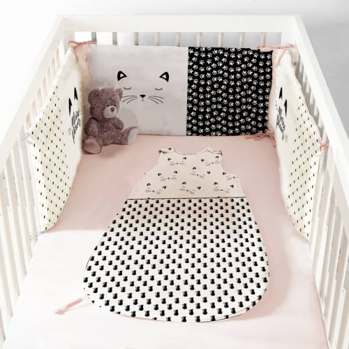 Coupon velours d'habillement pour tour de lit motif chat