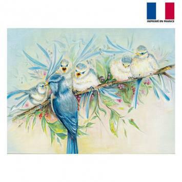 Coupon 59x44.5 cm motif oiseaux - Création Véronique Baccino