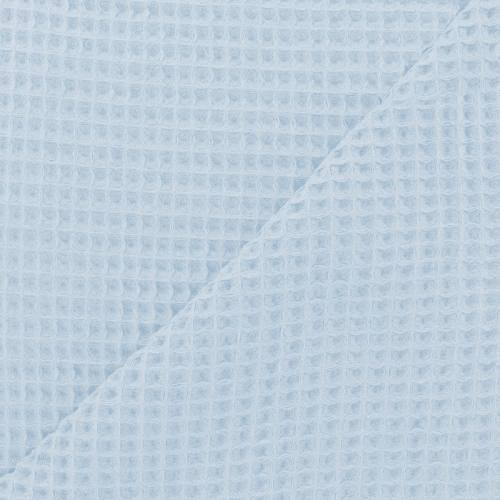 Tissu nid d'abeille uni bleu ciel