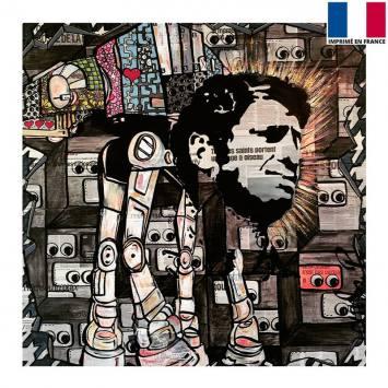 Coupon 45x45 cm - Visage d'homme - Création Anne-Sophie Dozoul