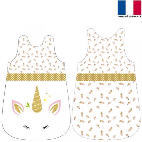 Coupon velours d'habillement pour gigoteuse motif licorne gold