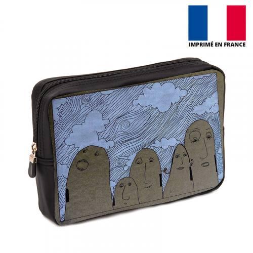 Coupon 30x20 cm - Toile canvas motif Nuages - Création Jeanne Garreau