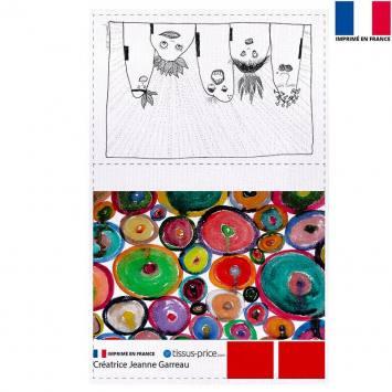 Kit pochette écru motif Tribu - Création Jeanne Garreau