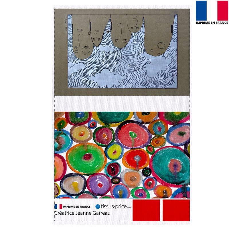 Kit pochette canvas motif Nuages - Création Jeanne Garreau
