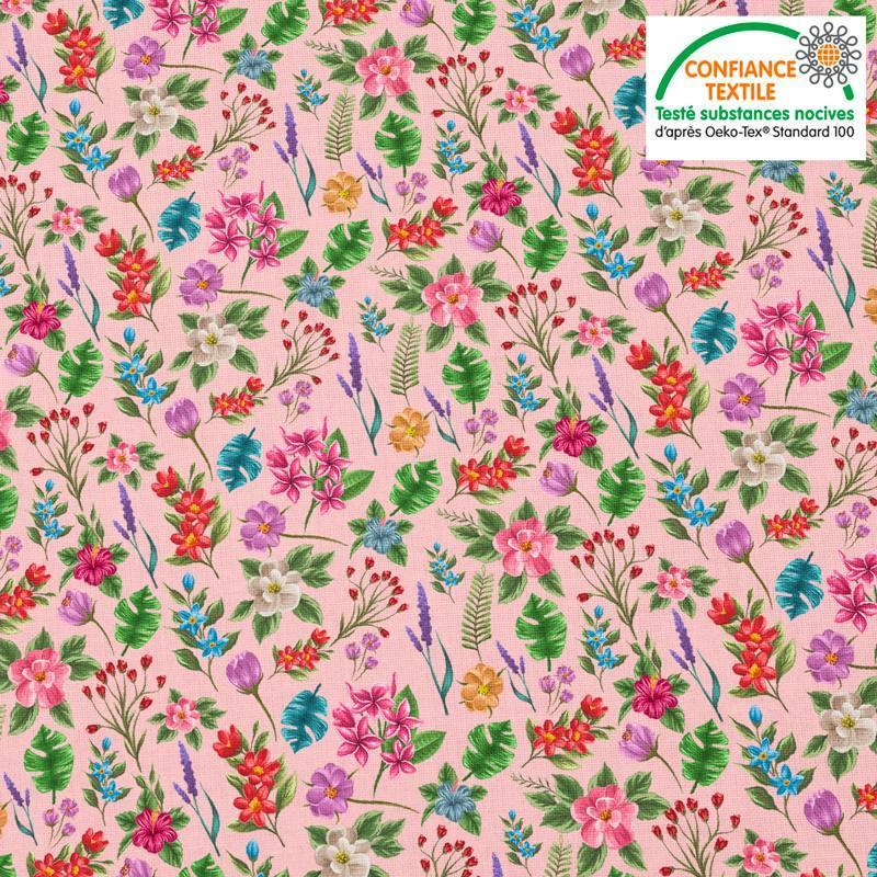 Coton rose pastel motif fleurs et jungle Oeko-tex