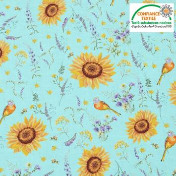 Coton bleu azurin motif tournesol jaune soleil Oeko-tex