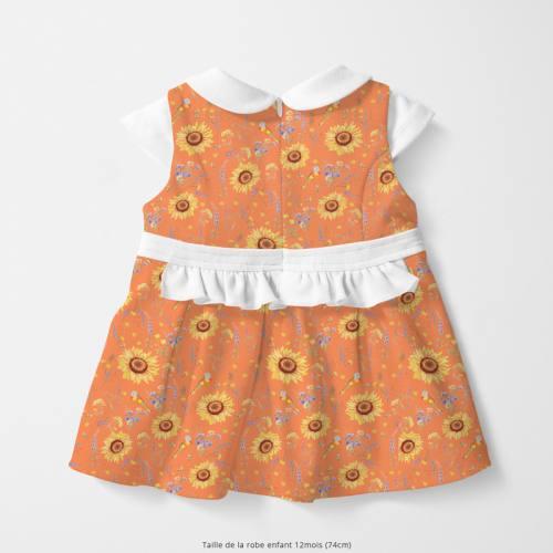 Coton orange abricot motif tournesol jaune soleil Oeko-tex