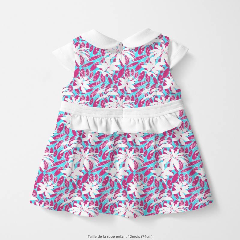 Coton bleu motif wax fuchsia et fleur blanche Oeko-tex