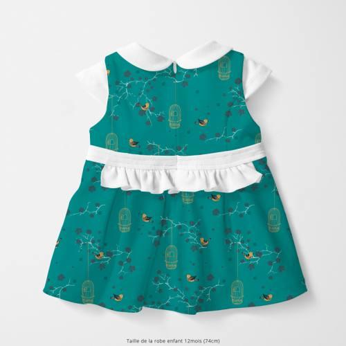 Coton bleu canard motif fleur de cerisier et cage à oiseaux Oeko-tex