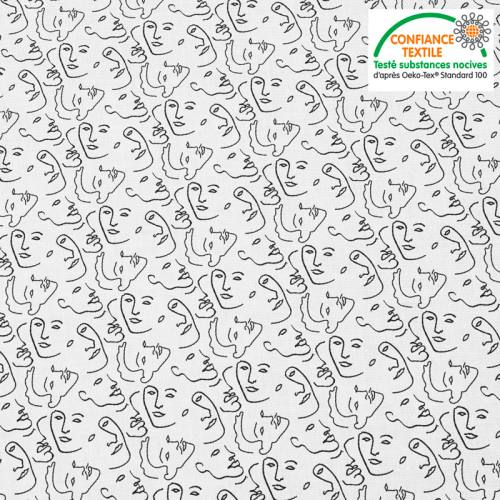 Coton blanc motif dessin visage au trait continu Oeko-tex