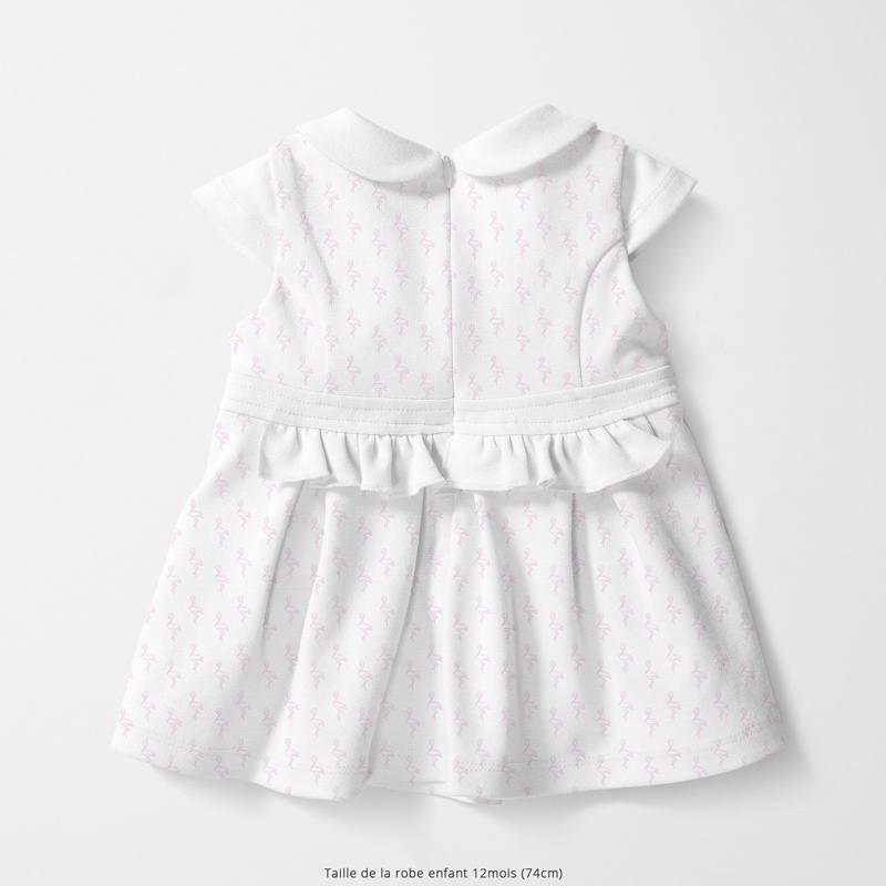 Coton blanc motif flamant rose en origami Oeko-tex
