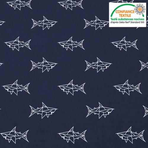 Coton bleu marine motif requin blanc en origami Oeko-tex