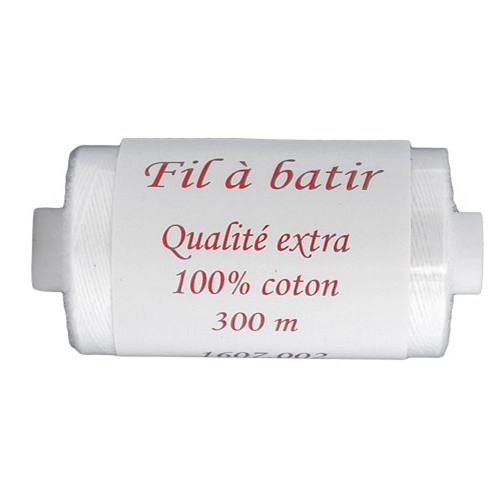 Fil à batir 100% coton bobine de 300m - blanc