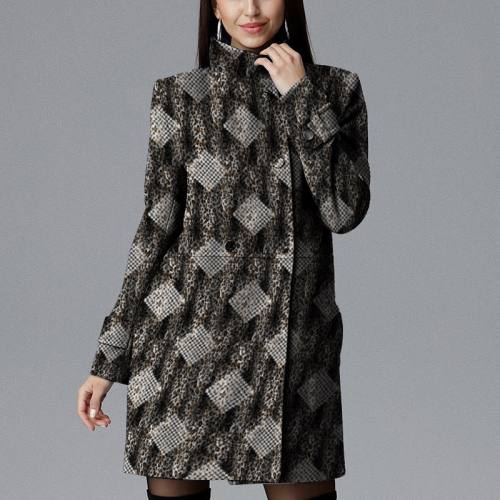 Velours d'habillement léopard motif pied de poule écru