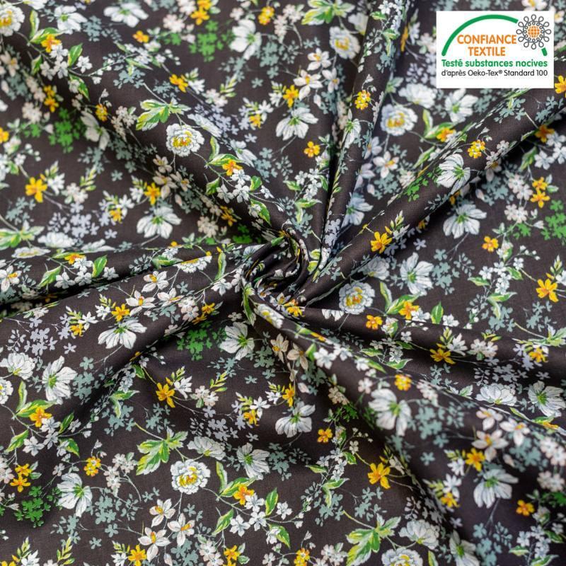 Popeline de coton noire motif fleur amaryllis Oeko-tex