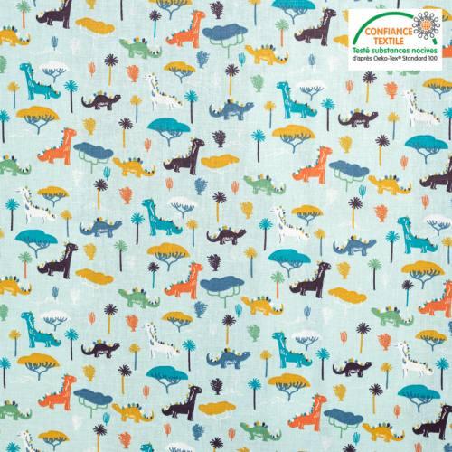 Popeline de coton bleu motif dinosaure jurassic Oeko-tex