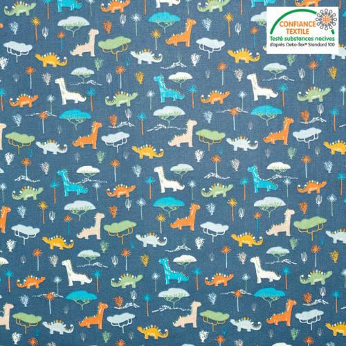 Popeline de coton bleu foncé motif dinosaure jurassic Oeko-tex