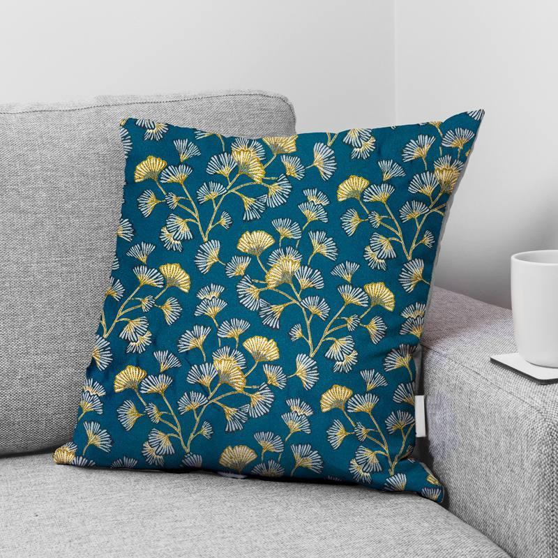 Coupon 50x73 cm - Jacquard bleu motif fleur en éventail ginkgo jaune Oeko-tex
