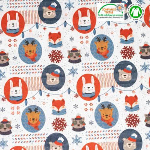 Coton bio blanc motif animaux de Noel et flocons Oeko-tex
